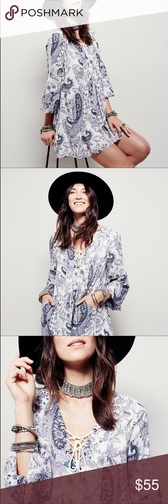 Free People Rain or Shine Dress Gorgeous loose fitting vintage inspired dress wi…