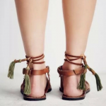 Free People Willow Sandal NWOT Flat leather sandal with gold studded dealing on ...