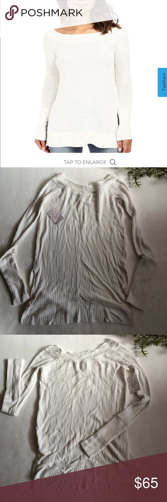 Free People thermal top Ivory colored thermal long sleeves.picture #4 is most ac…