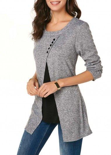 Front Slit Long Sleeve Button Detail T Shirt | modlily.com – USD $29.44