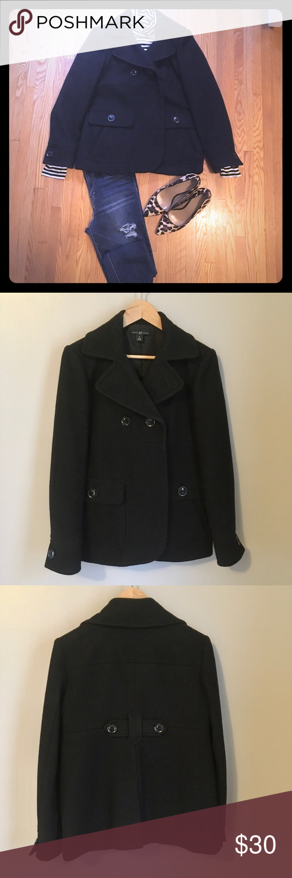 GAP Wool Charcoal Black Pea Coat This is a beautiful, modern take on a short, ch…