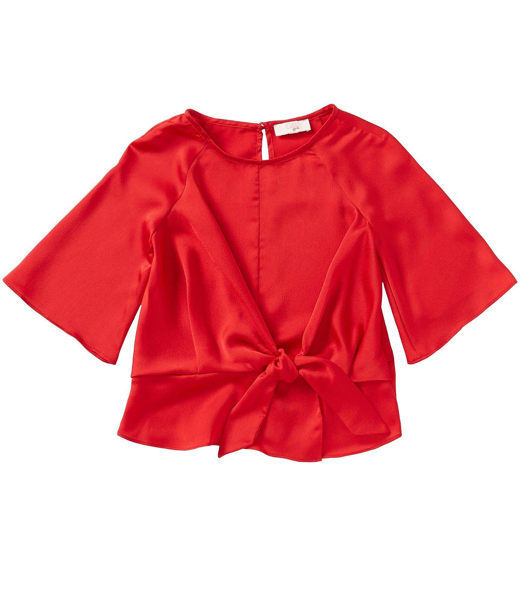 GB GB Girls Fan Fav Big Girls 7-16 Bell-Sleeve Tie-Front Blouse – Black S