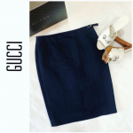 GUCCI Black Denim Pencil Skirt Side Waist Buckle Classy and elegant. Wear it fro...