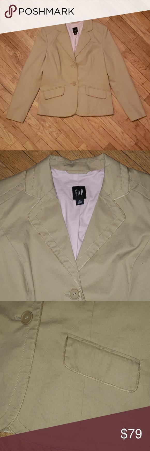 Gap 👌🏼 perfect tailored blazer Size 12, NWOT Khaki, ribbed like texture, t…