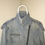 Gap 1969 jean jacket, distressed, size large Super soft moto jacket in pale / sk...