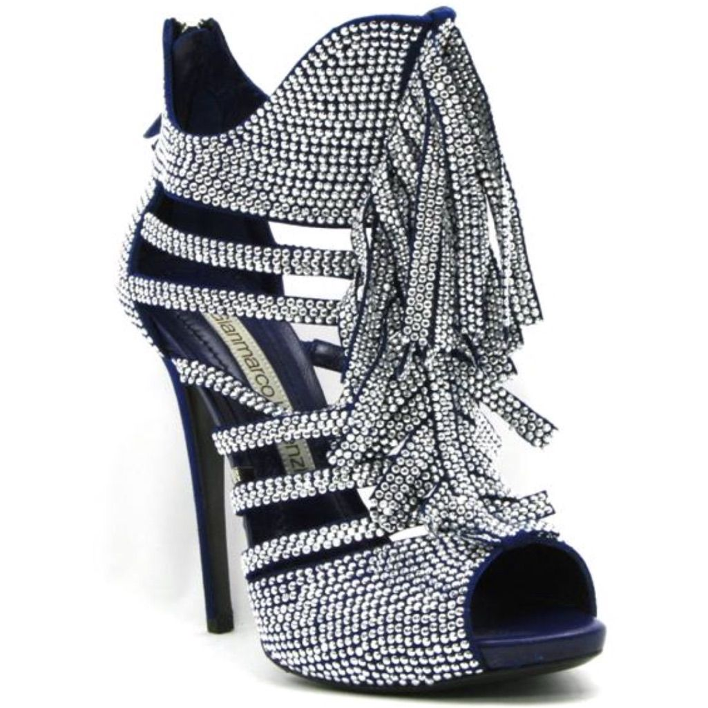 Gianmarco Lorenzi Shoes | Gianmarco Lorenzi Crystal Fringe Sandal | Color: Blue/Silver | Size: 10