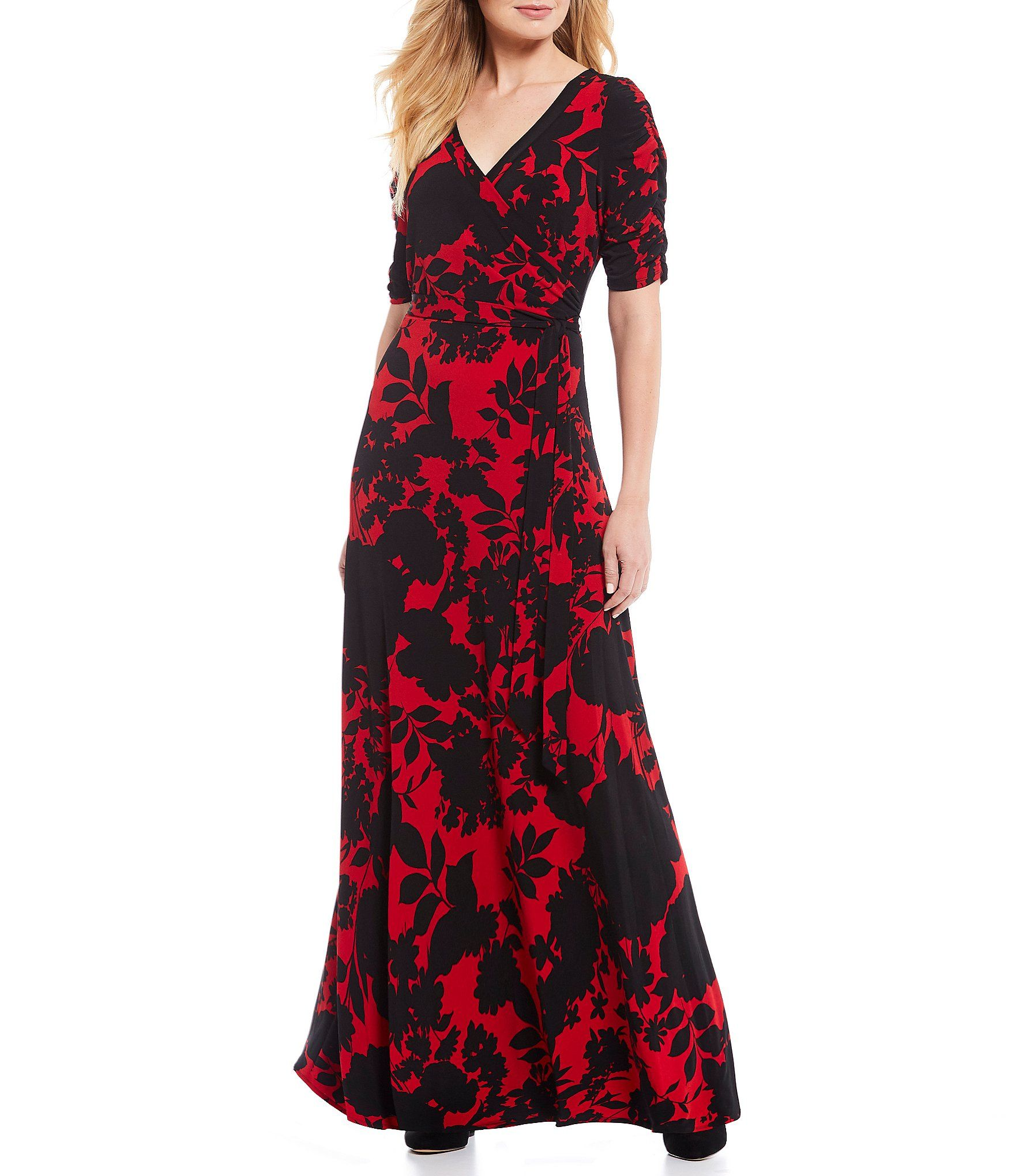 Gibson  Latimer Floral Print Wrap Short Sleeve Surplice V-Neck Jersey Knit Maxi Dress – Red Black XXL