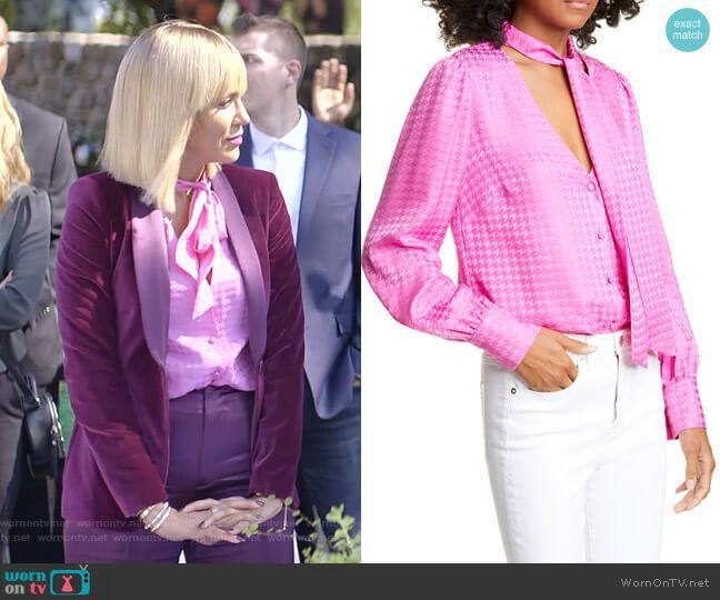 Giselle's pink tie neck blouse and purple velvet blazer on Empire