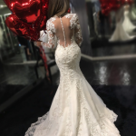 Glamorous Mermaid Long Lace Wedding Dress - Crew Neck Long Sleeves Illusion Back