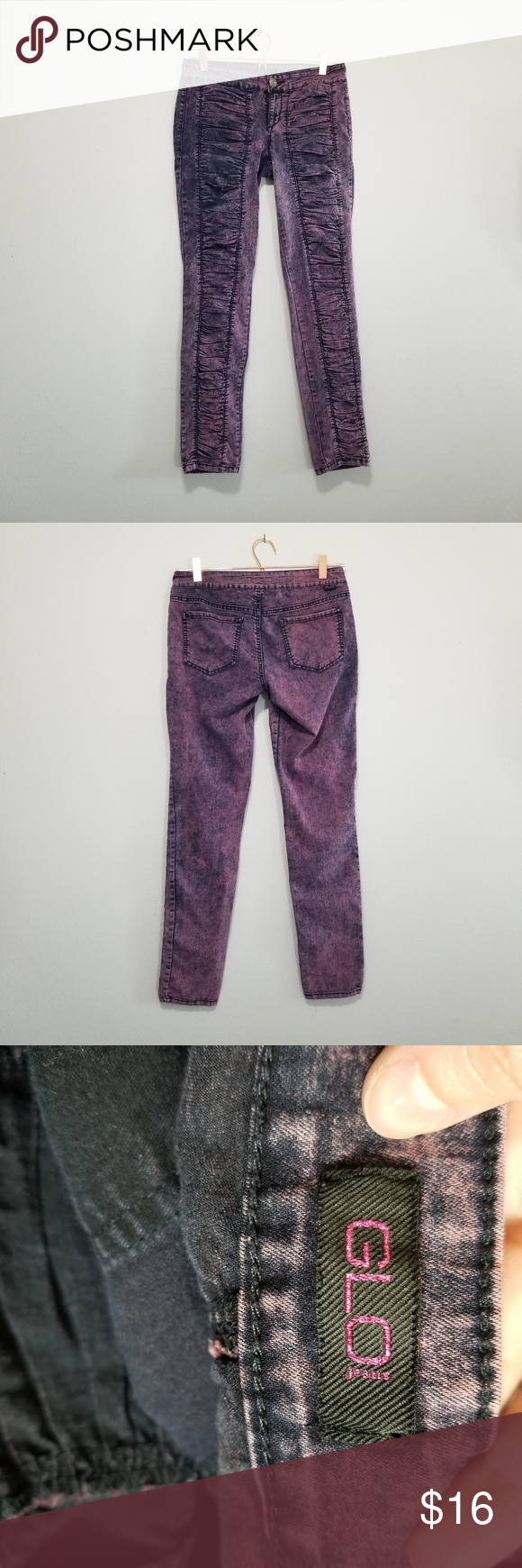 Glo washout pink Jeans (c) Glo Jean's  Washed out pink color  Bunched up ruffle …