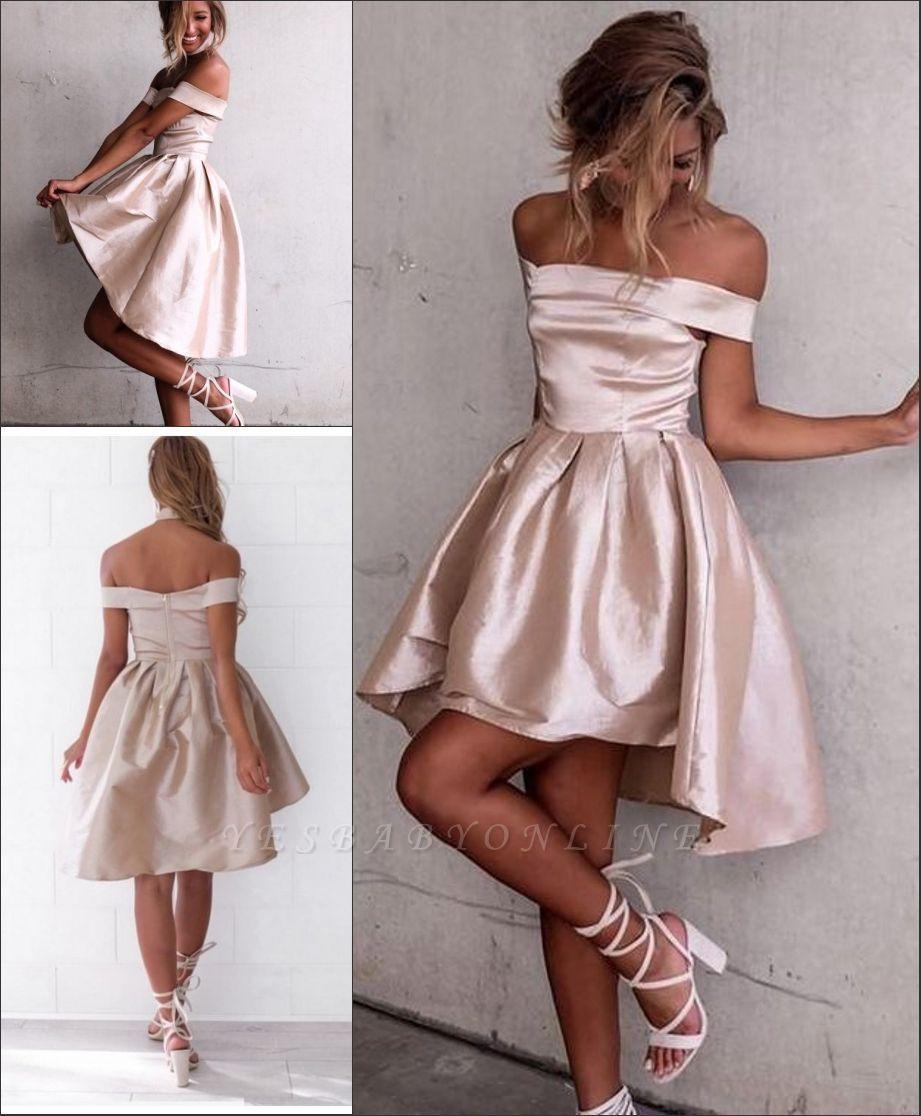 Glossy A-line Light Champagne Homecoming Dresses | Off-the-Shoulder Hi-Lo Graduation Dresses