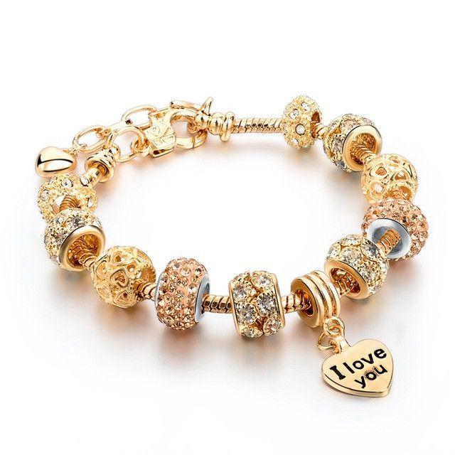 Gold Charm Bracelet For Women 2017 Owl Heart Beads