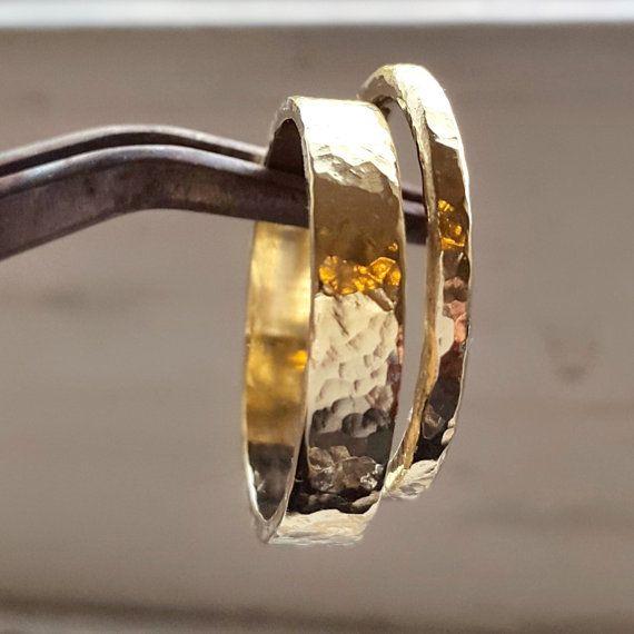Gold Hammered Band – Wedding Ring – 14k Gold Wedding Ring