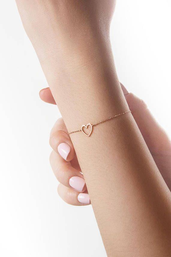Gold Heart Bracelet, 9K 14K 18K Rose Gold Bracelet, Solid Gold Heart Frame, Delicate Love Forever Romantic Gift For Her, Dainty Heart Charm