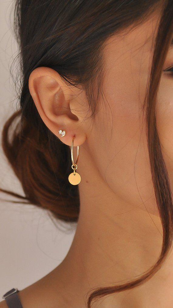Gold Hoop Earrings Dainty hoop earrings Small hoop earrings Modern thin endless hoop Pearl drop disc