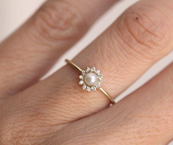 Gold Pearl Ring, Halo Diamond Pearl Ring, 14k Freshwater Pearl Ring, 18k Gold Ring
