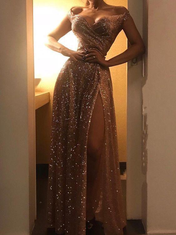 Gold Sequined Off Shoulder Prom Dress