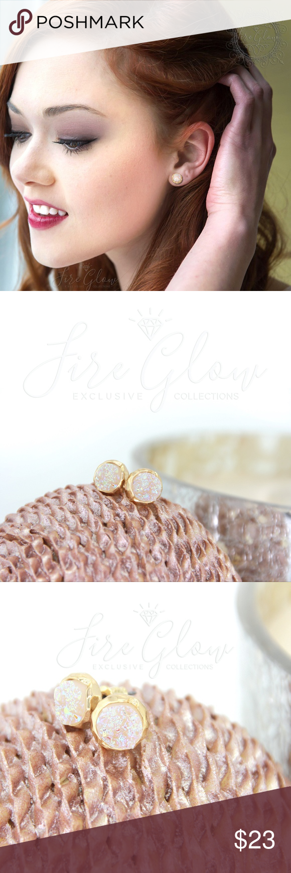 Gold Tone Earrings – Iridescent Opal Drusy / Druzy A beautiful gold tone setting…
