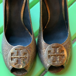 Gold Wedge Shoes Tory Burch Gold Metallic Wedge Shoes  USED but in GREAT Conditi...