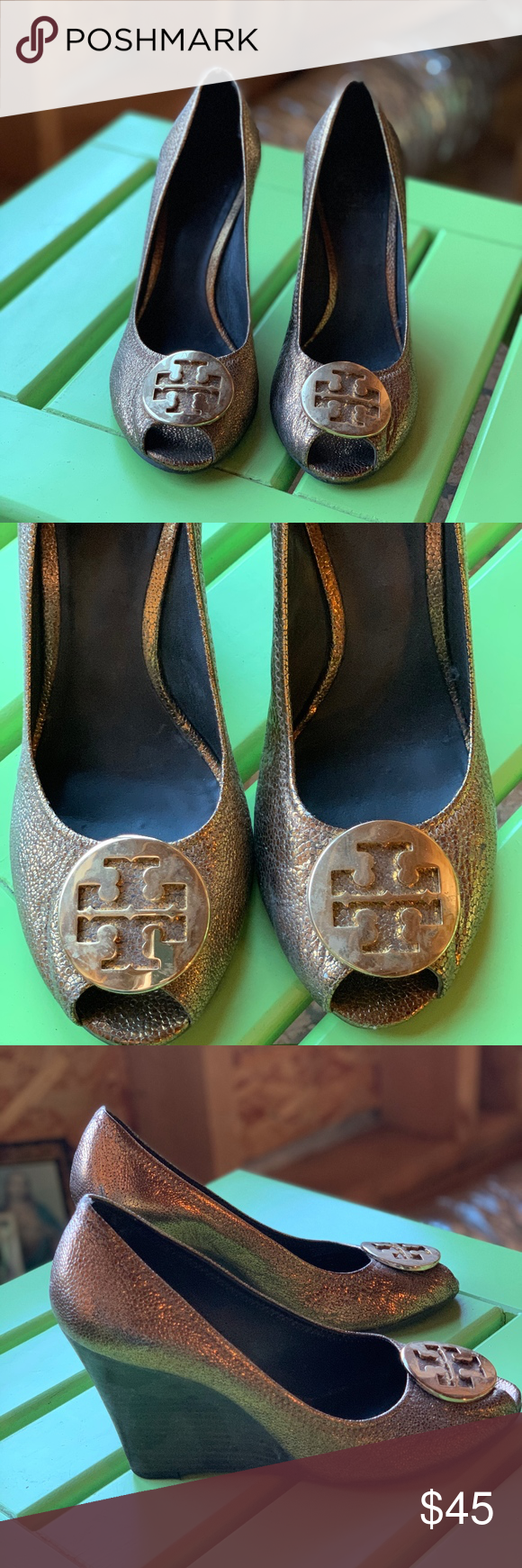 Gold Wedge Shoes Tory Burch Gold Metallic Wedge Shoes  USED but in GREAT Conditi…