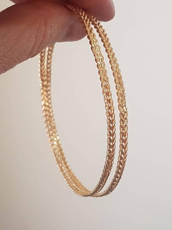 Gold bangle bracelet, braided bangle, gold braided bracelet, gold stacking bracelets, bridal gold br
