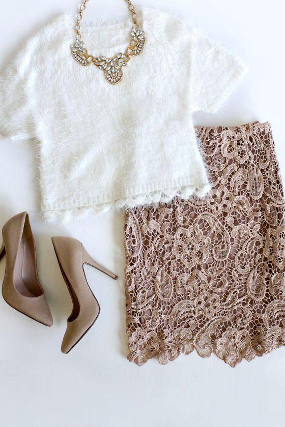 Golden Lace  skirt, ivory skirt , black skirt, white skirt, lace skirt