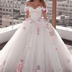 Gorgeous Ball Gown Wedding Dresses | Off-the-Shoulder Floral Beading Bridal Gown...