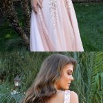Gorgeous blush pink long prom dress, sequins deep v neck evening dress 0780