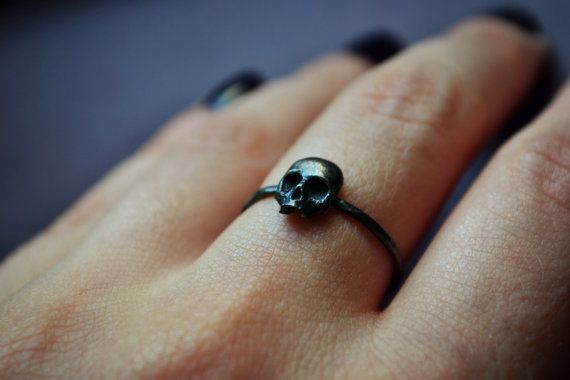 "Gothic Skull Ring, Stacking Sterling Silver Goth Punk Jewelry Skeleton Ring Unisex Mens Ring ""Memento Mori"""