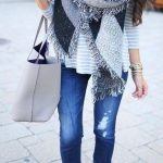 Gray Fringed Scarf | Fall Winter Scarves For Women