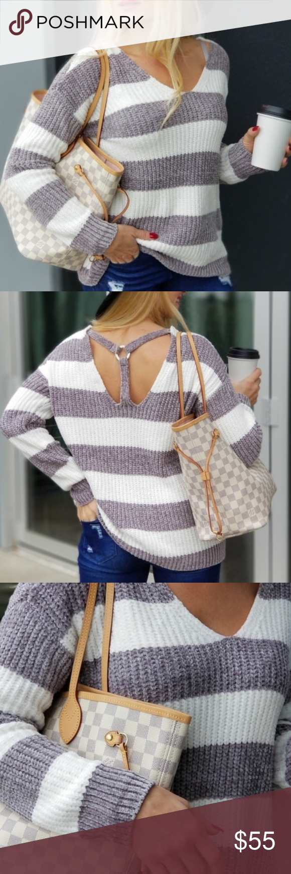 Gray Striped Chenille Sweater So Soft Loving this oh so soft striped Sweater!! A…