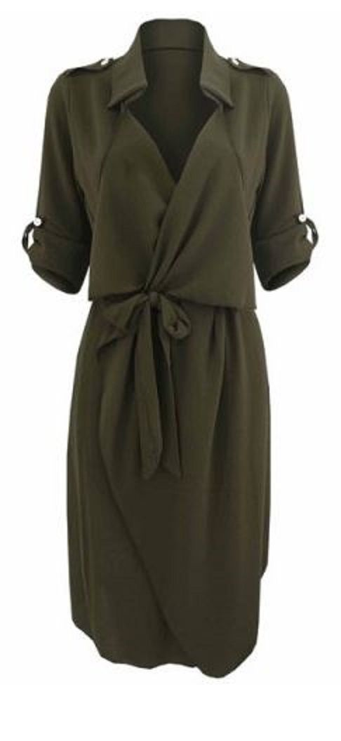 Great Work Dress! Love Khaki! Army Green Stylish Turn-Down Collar Long Sleeve So…
