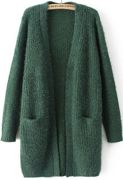 Green Long Sleeve Pockets Knit Cardigan -SHEIN(SHEINSIDE)