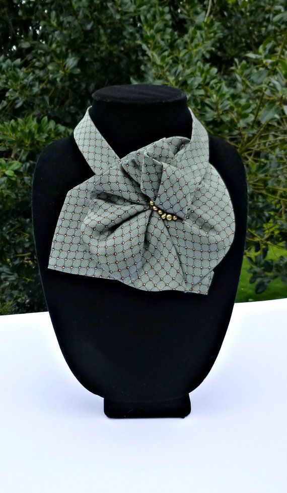 Green Necktie Scarf with Pearls is Upcycled Ladies Fashion Accessory / Unique Scarflette