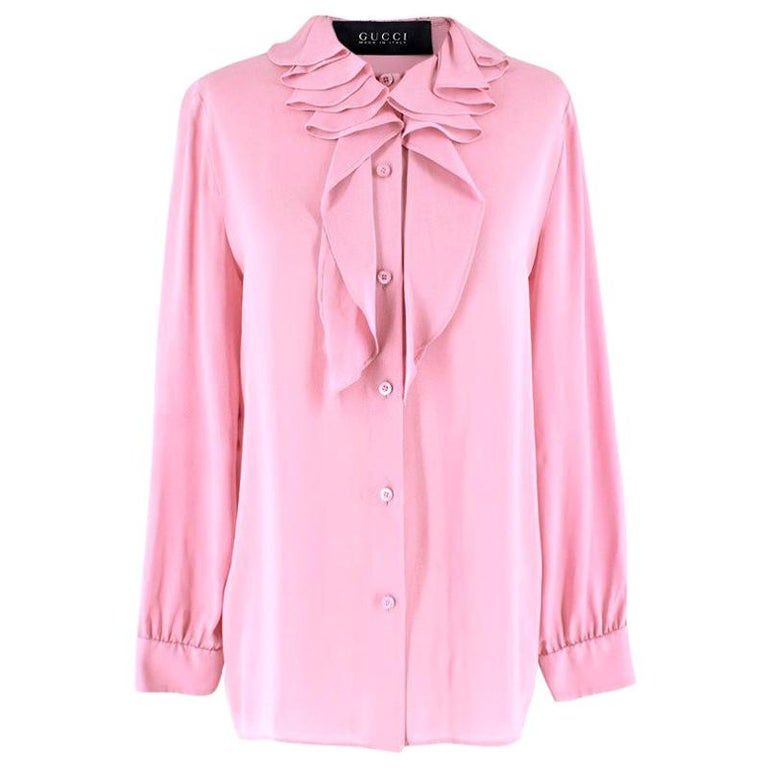 Gucci Pink Silk Ruffled Collar Tie-neck Blouse It 40