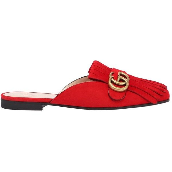 Gucci Women 10mm Marmont Suede Mules (59885 DZD) ❤ liked on Polyvore featuring…