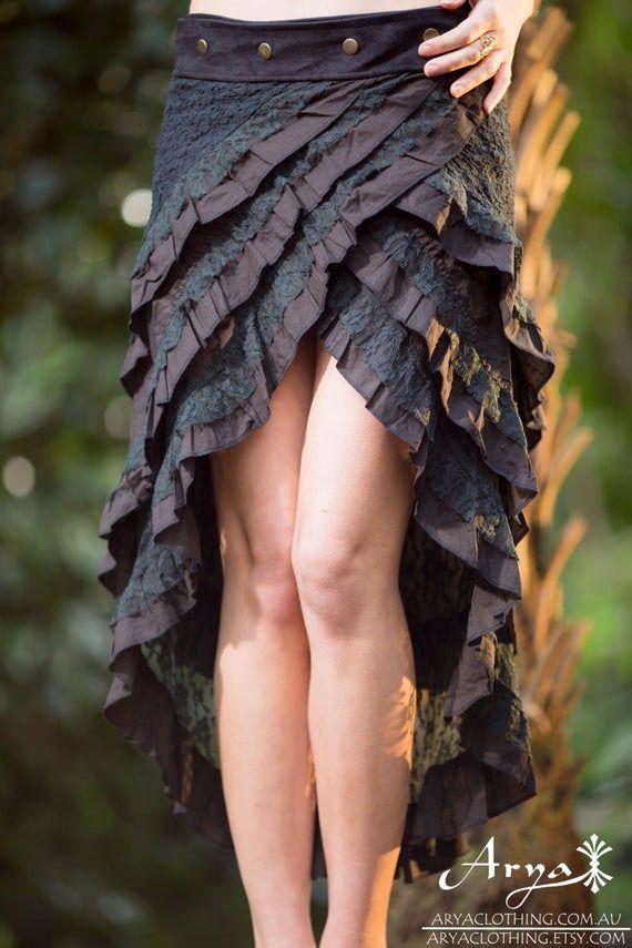 Gypsy Bohemian Hippie Skirt (Black) – Festival Clothing Bohemian Boho Hippie Fairy Goa Sexy Wrap Around Layer Lace Crochet Nomadic