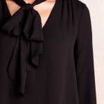 HD In Paris Black Astral Tie-neck Blouse - 12 Wear the neck tie many different w...