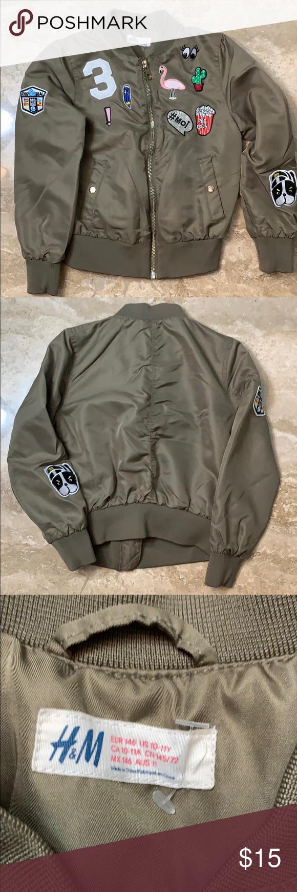 H&M Girls Flight Jacket w/patches H&M Girls Flight Jacket w/patches – Army Green…