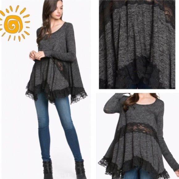 HP 12/3 RUFFLES & LACE! Very pretty, trendy charcoal top with ruffled lace hem a…