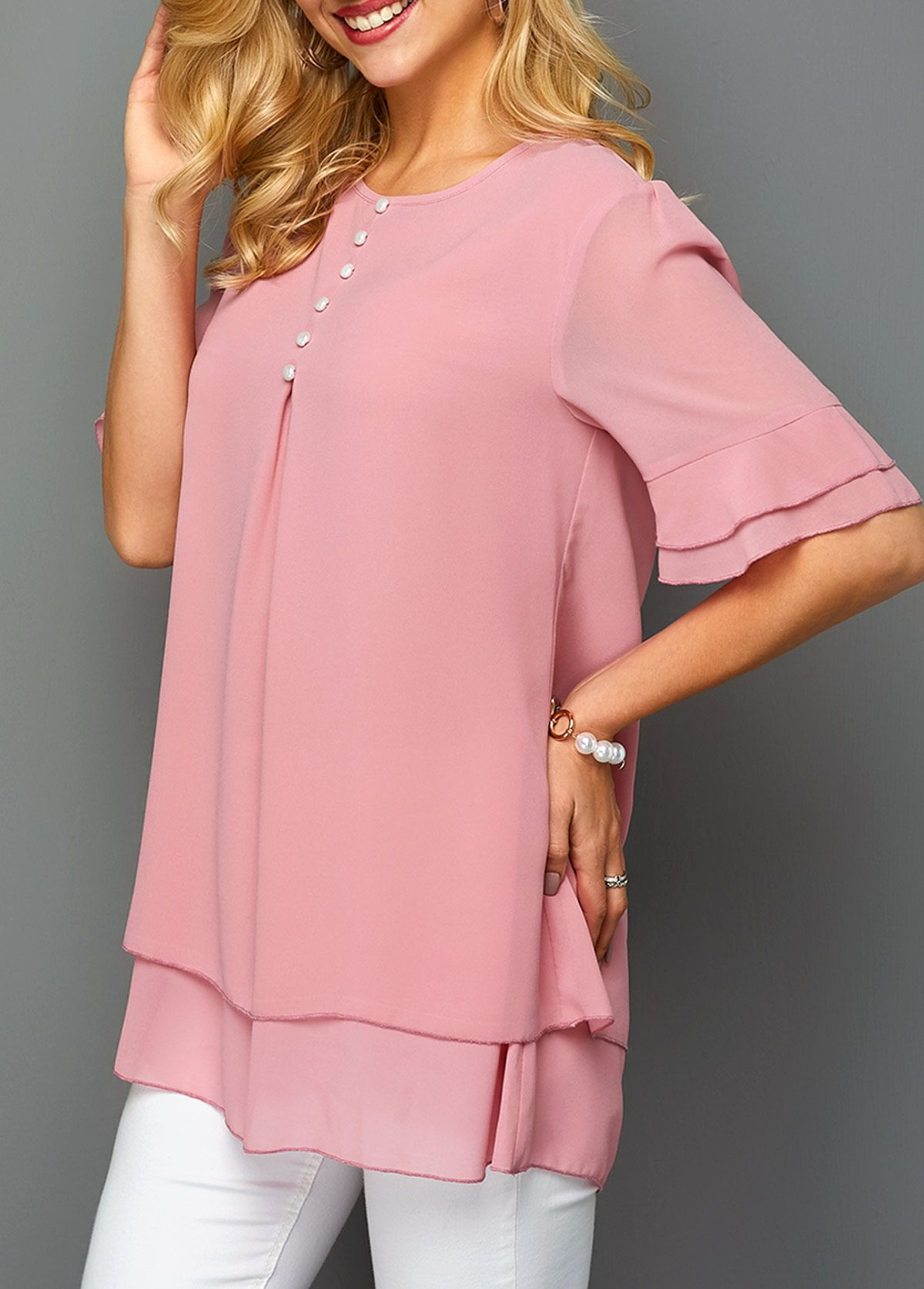 Half Sleeve Layered Hem Button Detail Chiffon Blouse | Rosewe.com – USD $28.33