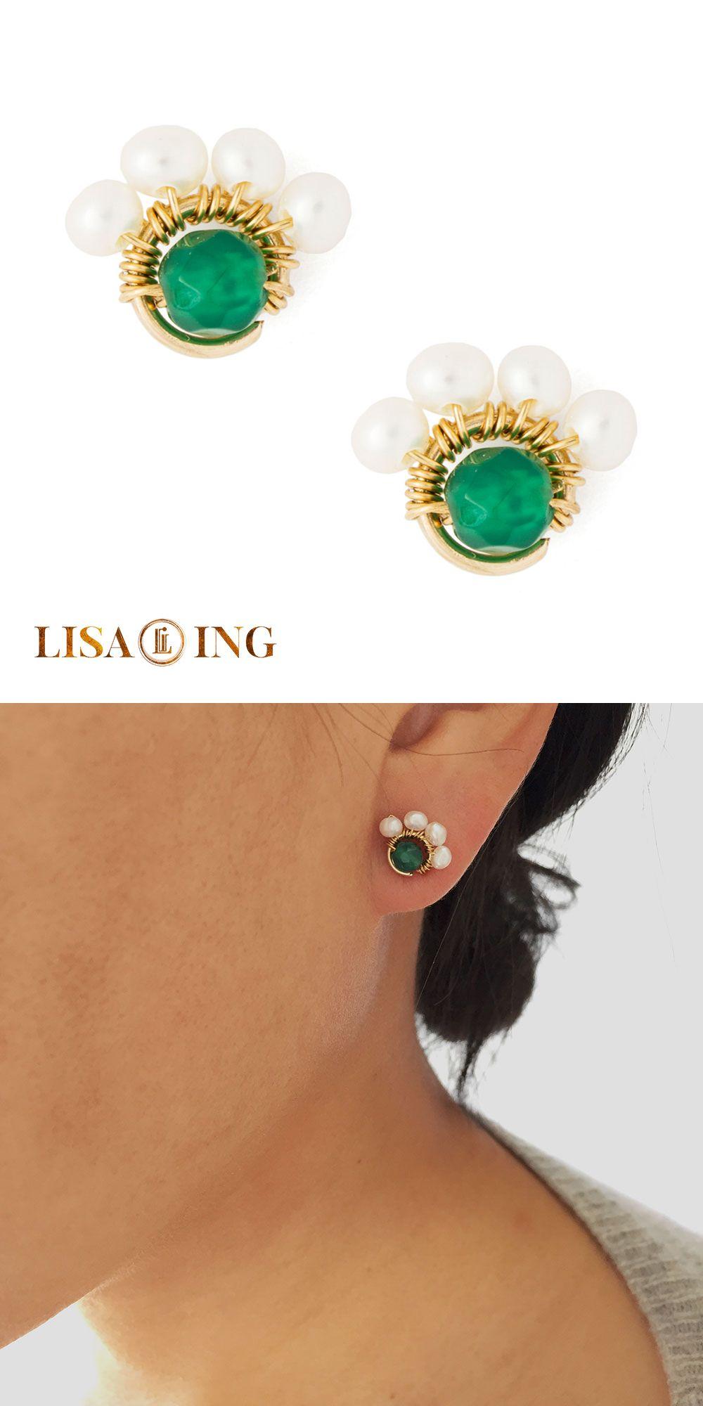 Half flower stud earrings by LISA ING // pearls and green agate gemstone earring…