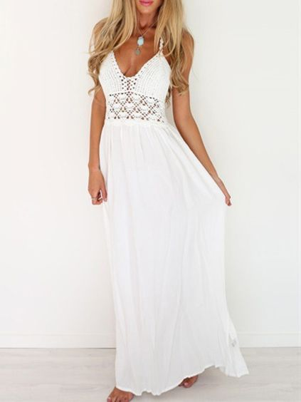 Halter Backless Lace Insert Maxi Dress EmmaCloth-Women Fast Fashion Online