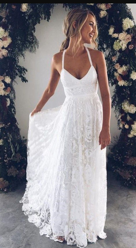 Halter Empire White Lace Prom/Evening Dress,Beach Lace Wedding Dress Informal,White Lace Maxi Dress,655