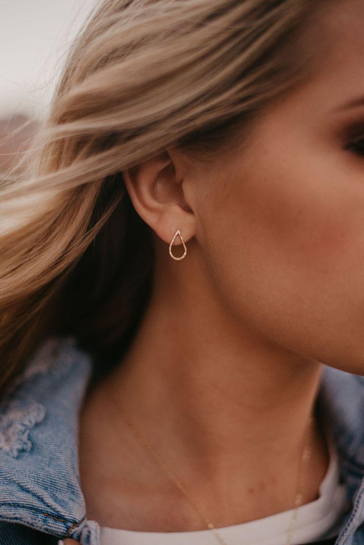 Hammered Teardrop Stud Earrings