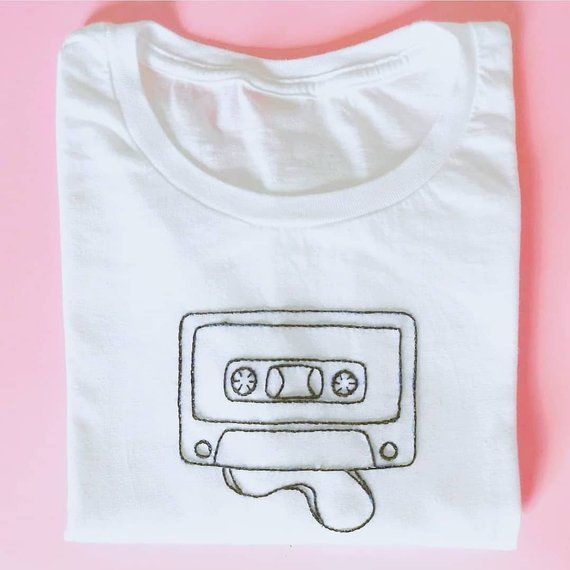 """Hand-Embroidered White T-Shirt """"Audio Cassette""""  #audio #cassette #embroidered #…"""