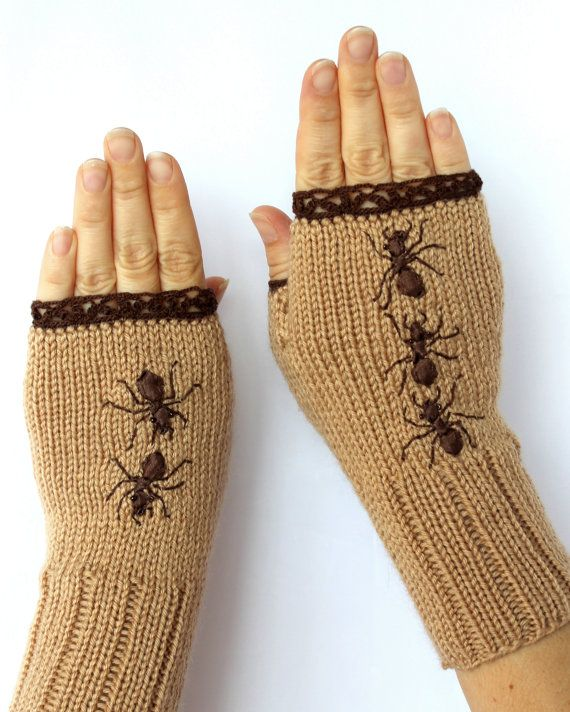 Hand Knitted Fingerless Gloves, Ribbon Embroidery, Gloves & Mittens, Accessories…
