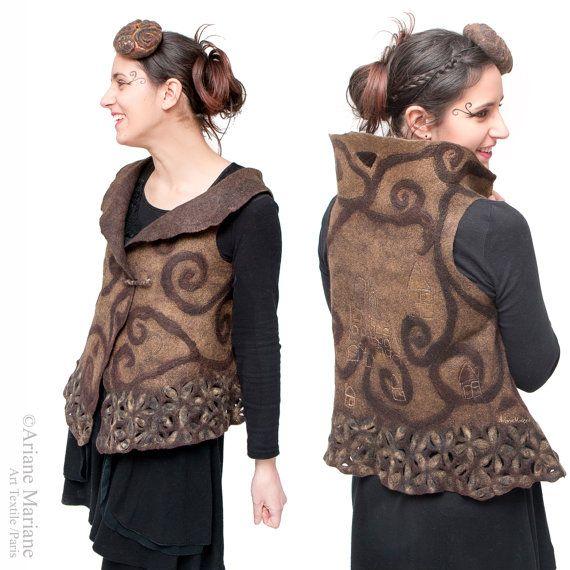 Hand made Paris Design Wearable Art Women Vest; Nuno Felt Wool Silk Vest, Unique…