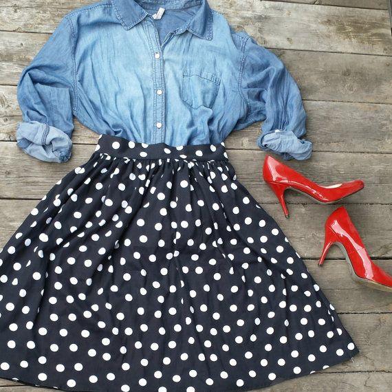Handmade Black and White Polka Dot Skirt with Back Zipper- Retro Style Rockabill…