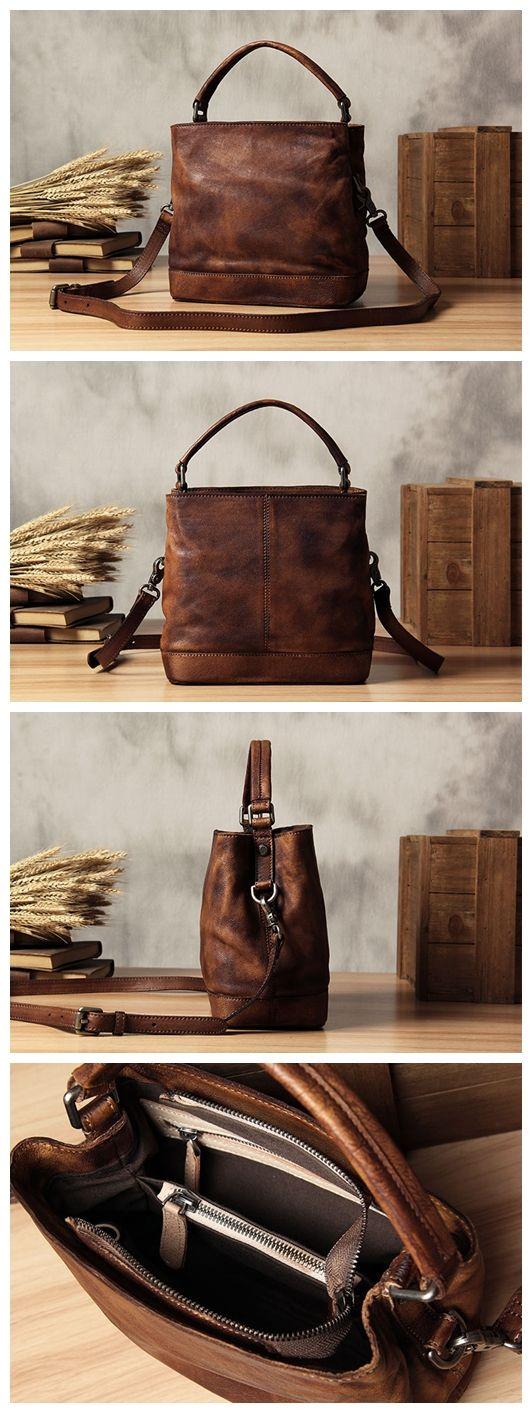 Handmade Leather Messenger Bag Handbag Shoulder Bag Small Satchel Women's Fashio…